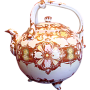 Japanese Seto Large Footed Porcelain Teapot w Red & Gold c 1890 - 1900