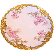 French Limoges Large 14� Charger Gold & Flowers Dahlias c 1900 - 1920