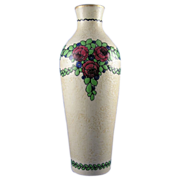 Ernst Wahliss Turn Vienna Amphora Art Nouveau Floral Garland Vase (c.1899-1918)