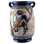 Amphora Austria Arts & Crafts Campina Parrot Motif Vase (c.1905-1910)