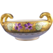 Bavarian Handled Violet Motif Bowl Stouffer Artist &quot;Stens&quot; (Signed/c.1910-1940)