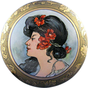 O&EG Austria Art Nouveau Mucha Portrait Motif Covered Dish (c.1899-1918)