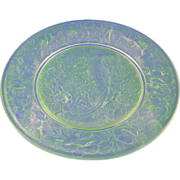Consolidated Glass Green Wash Pheasant Motif Plate (c. 1920's)
