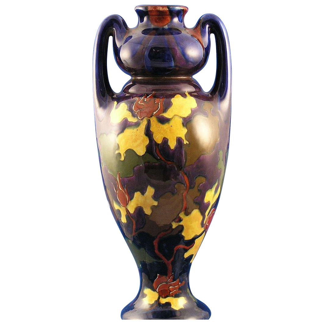 Austrian Old Moravian Pottery Handled Arts & Crafts Vase (c.1899-1918)