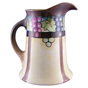 "William Guerin & Co. (WG&Co.) Limoges Arts & Crafts Grape Motif Pitcher (Signed ""LeHurann"
