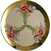 "SALE Thomas Bavaria Art Nouveau Poppy Motif Plate (Signed ""S. Hilmer""/c.1908-1920)"