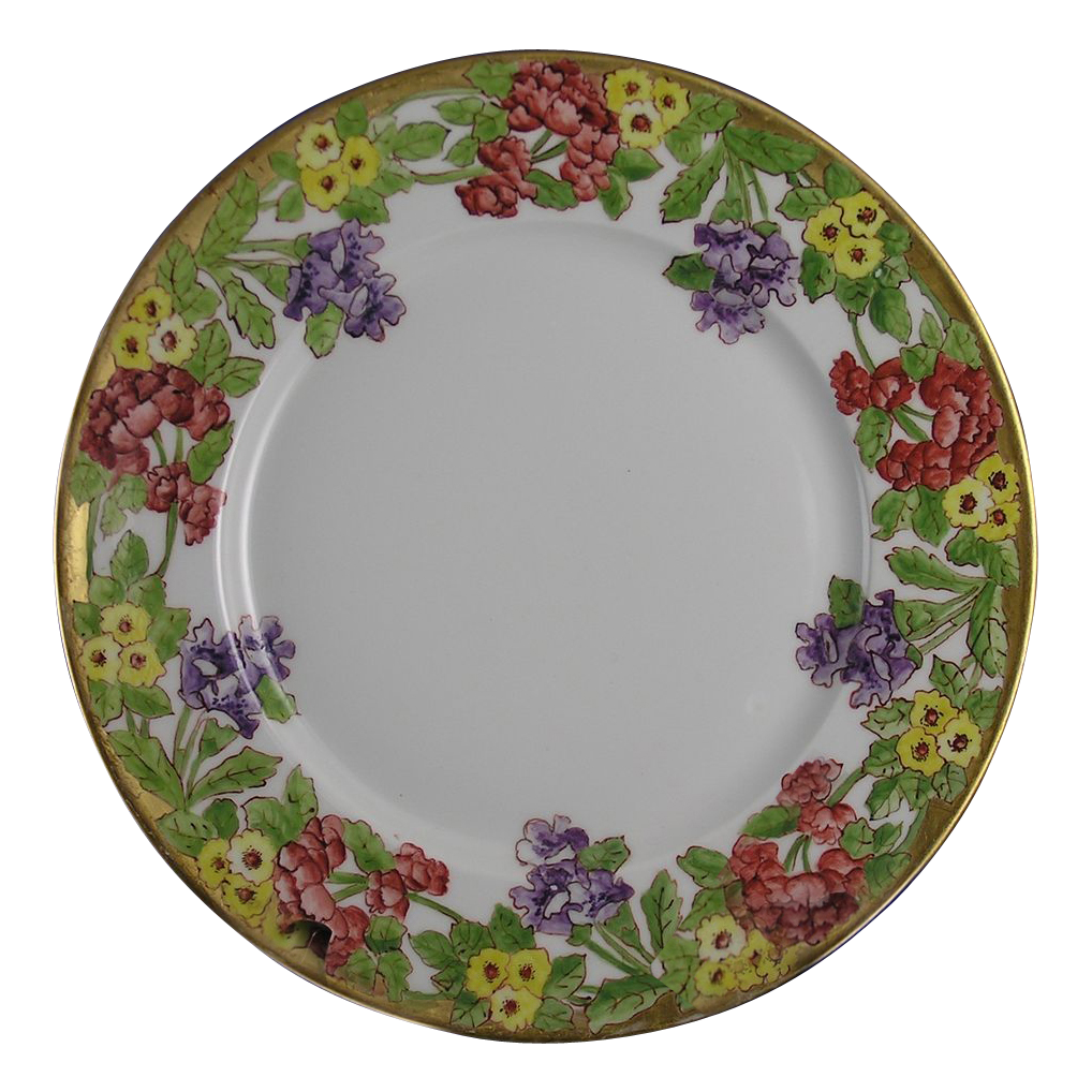 Charles Ahrenfeldt (CA) Limoges Floral Motif Plate (c.1894-1930's)