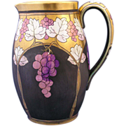 Limoges Pickard Lustre Grapes & Leaves Pitcher (Signed Robert Hessler/c.1905-1910)