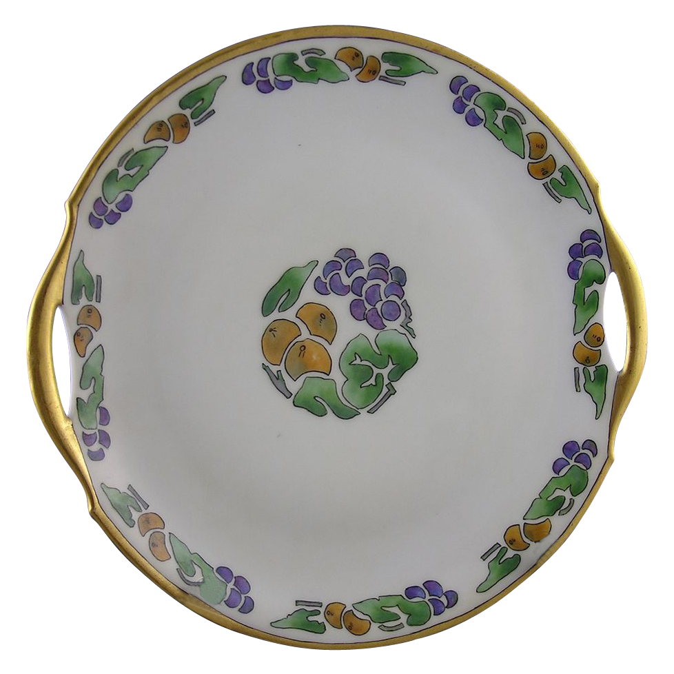 Bavaria Arts & Crafts Fruit Motif Handled Serving Plate (Signed &quot;D. Burrowes&quot;/c.1920-1935)