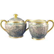 Pickard Studio Mottled Green Creamer & Sugar Set (c.1930-1938)
