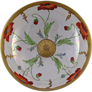 "Haviland Limoges Pickard Poppy Design Centerpiece Bowl (Signed ""Keates"" for Alfred"