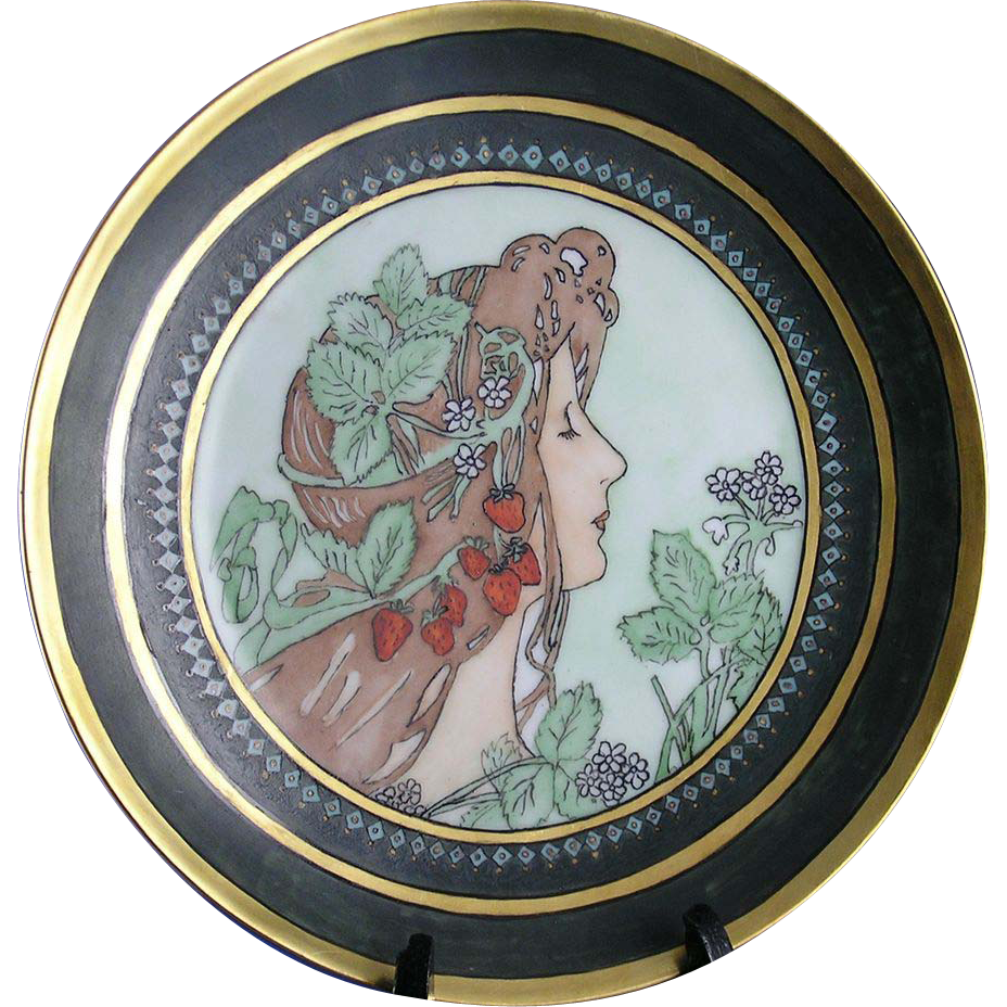 "Thomas Bavaria Arts & Crafts Mucha Style Woman with Strawberries Motif Plate (Signed ""Christine""/c.1908-1930)"