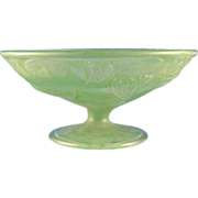 Consolidated Glass Green Wash Fish Motif Compote (c.1920's)