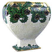 Ernst Wahliss Amphora Austria Enameled Floral Vase (c.1899-1910)