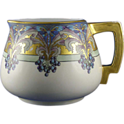 "PH Leonard Austria Arts & Crafts Butterfly & Berry Motif Pitcher (Signed ""R. Ellitt"""