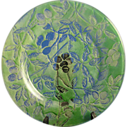 Consolidated Glass Martele Green Wash Olive Design Plate (c.1920's)