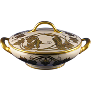 "Raynaud (R&Co.) Limoges Gold Grape Motif Covered Serving Dish (Signed ""Cora P. Roche"""