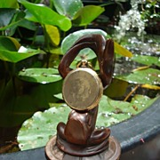 Unusual 19th C. Pocket Watch Stand Fountain Frog