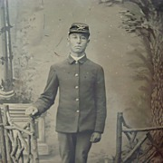 Indian Wars Tintype Photo of Native American Soldier