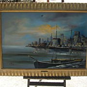 Oil Painting by Akos Biro of New York Harbor Scene