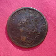 1820 Irish Pawn Brokers Copper Half Penny Hibernicus Token