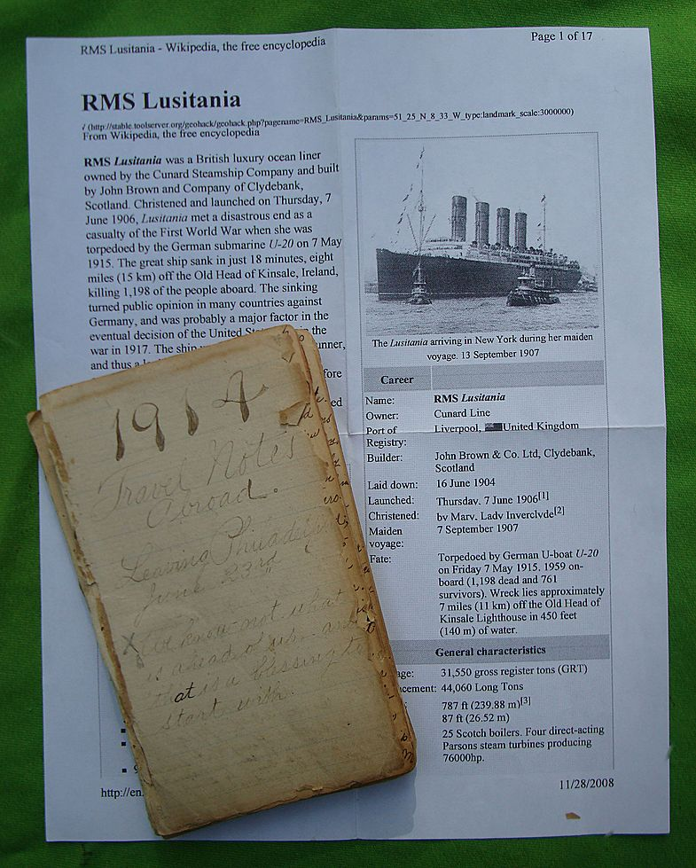 Fabulous 1914 World Travel Diary aboard the RMS LUSITANIA