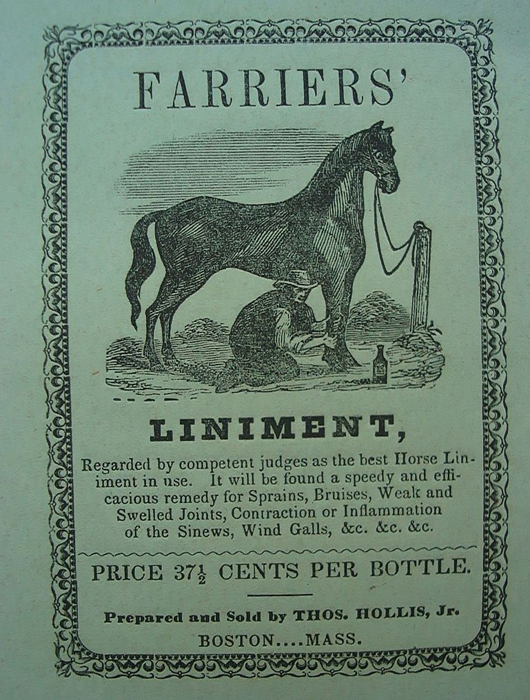 c.1840's Advertisement for Farriers Horse Liniment
