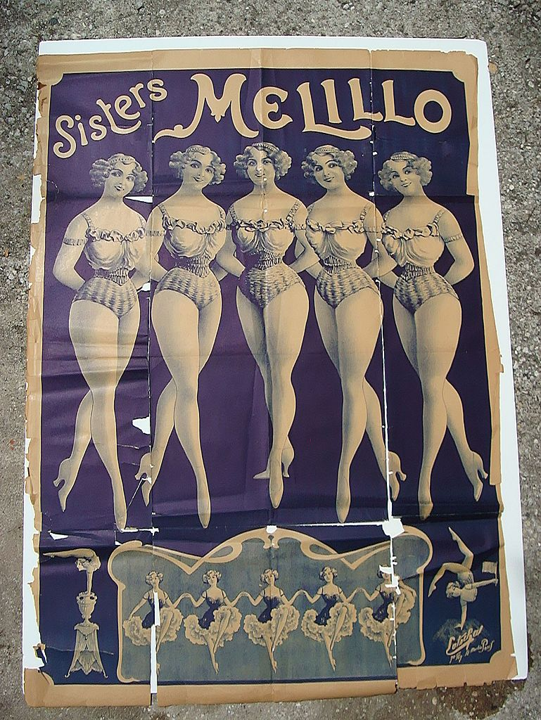 19th Century  Circus Poster of Dancing Melillo Sisters in America