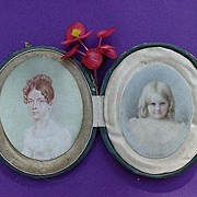 Superb c.1840 Dresden,Germany Miniature Portraits of Mother & Daughter w/Lock of Hair