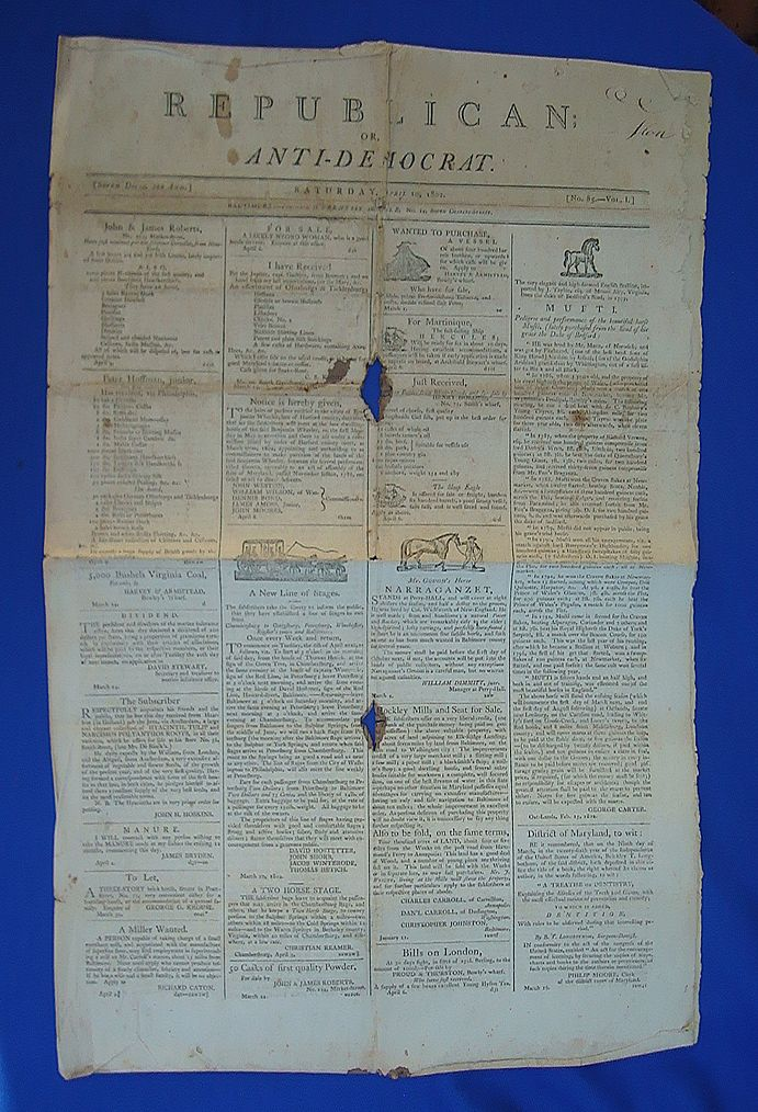 Rare 1802 Baltimore Pro Slavery Newspaper; Republican or Anti-Democrat