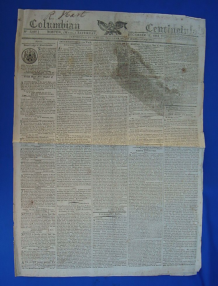 Boston 1813  Newspaper Columbian Centinel Creek War Gen. Andrew Jackson Letter