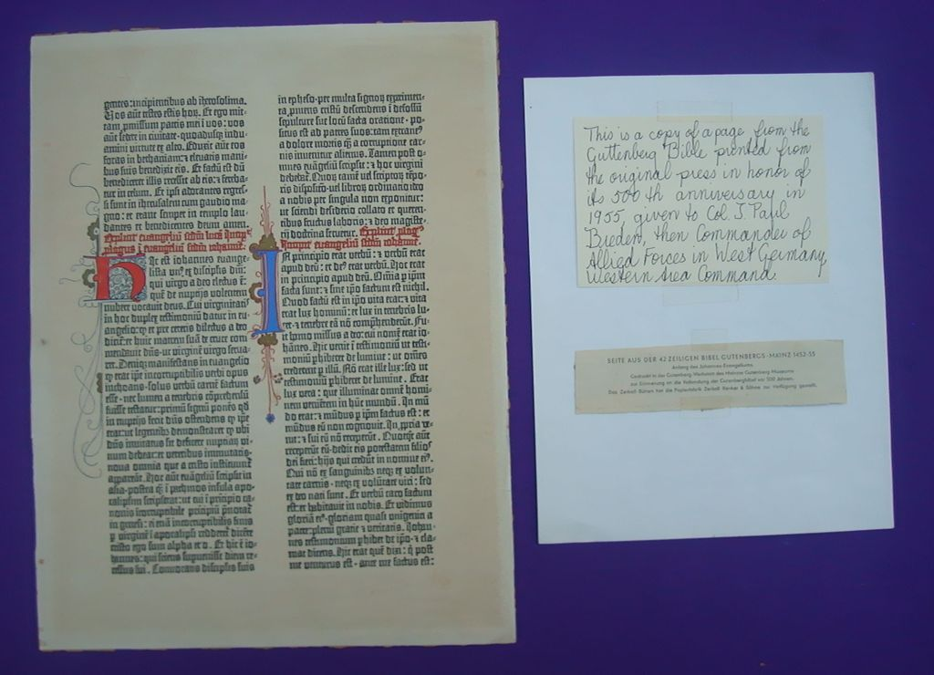 RARE Page from the Gutenberg Bible Given to Allied Commander