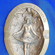 Risque Art Nouveau High Relief Bronze Ashtray Warren,Ohio