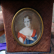 Portrait of a Young Lady (1815) watercolor miniature in Leather Case