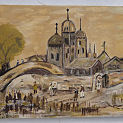 Folk Art Oil Painting of Syrian Village