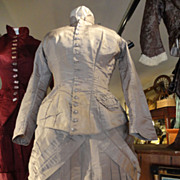 Original 1860's 2 Piece Grey Taffeta Dress with Watch Pocket