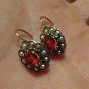Victorian Garnet 14kt. Gold Earrings with Seed Pearls