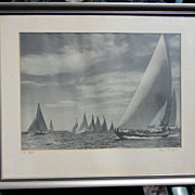 Early America's Cup Photograph Signed Morris Rosenfeld Large Format