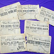 Original 1919 World Series Reds vs. Black Sox Cincinnati Newspapers