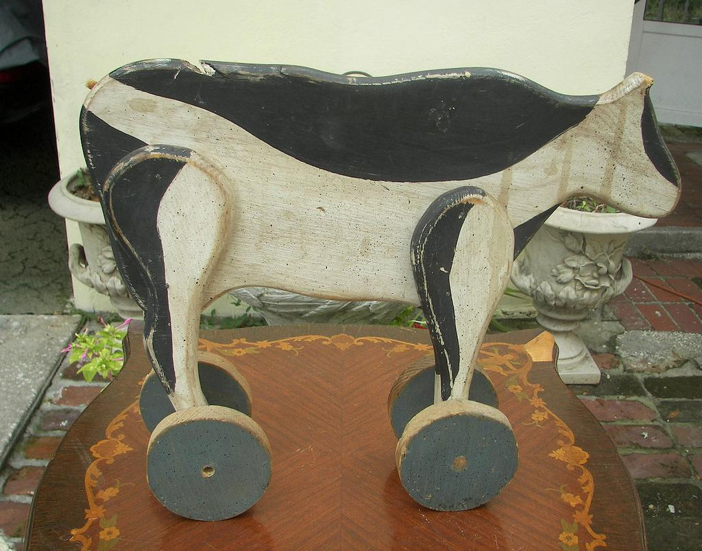19th Century Folk Art Primitive Child's Toy Cow