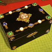 ORNATE Jeweled Antique Victorian Jewelry Box  w Key