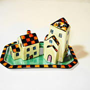 Art Deco Noritake Figural Houses Lusterware S & P Set w tray