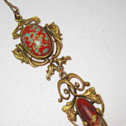 JEWELED EYES Art Nouveau Fish Lavalier Necklace