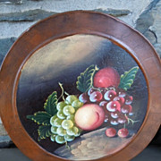 Vintage Hand Painted Tin Canister Set of (5) Fruits, Grapes, Peaches, Apples