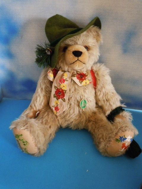 16&quot; Hermann Mohair Musical Bear &quot;Happy Wanderer&quot; w/Tags, Germany