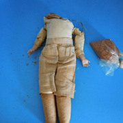 "Antique 10"" Leather/Cloth Body w/Bisque Hands Doll Parts"