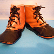 Antique Doll Baby Child High Top 2 Tone Leather Shoes