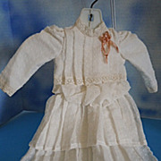 White Cotton Swiss Dot Cotton Dress for (M) Doll