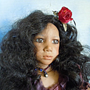 "1996 Annette Himstedt 24"" Club Doll ""Aura"" Gypsy Black Vinyl MIB"