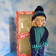 "1970's Kathe Kruse 14"" ""Annmarie"" Dressed for Snow MIB"